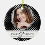 Forty and Fabulous Stylish BW Polkadots Christmas Tree Ornaments