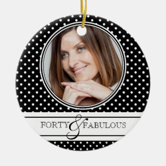 Forty and Fabulous Stylish BW Polkadots Double-Sided Ceramic Round Christmas Ornament
