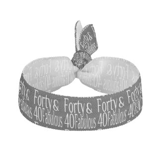 Forty and Fabulous Text in White Elastic Hair Tie
