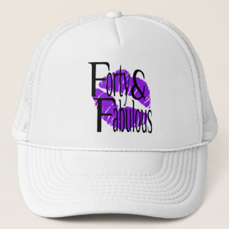 Forty and Fabulous with Hot Purple Lips Trucker Hat