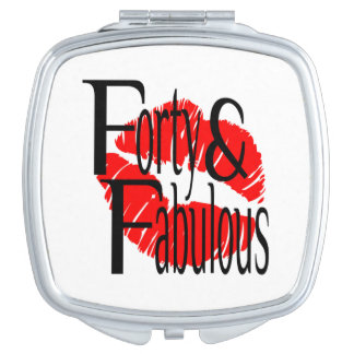 Forty and Fabulous with Hot Red Lips Compact Mirror
