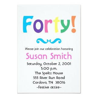 Forty Birthday Invitations