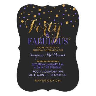 Forty & Fabulous Purple & Gold Foil Dots Card