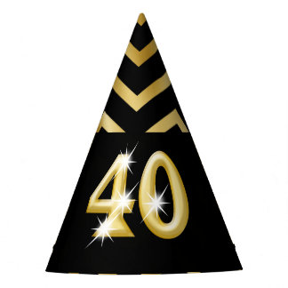 Forty fortieth birthday chevron stripe party hat