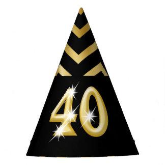 Forty fortieth birthday chevron stripe party hat