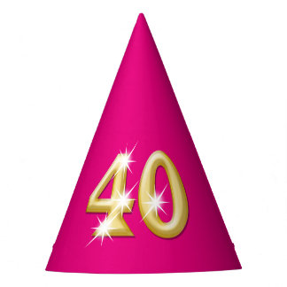 Forty fortieth birthday pink gold party hat