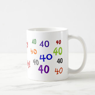 Forty is Noughty Multicoloured Mugs