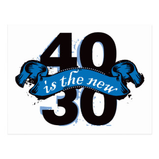 Forty Is The New Thirty - Blue Postcard
