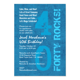 Forty Rocks! 40th Birthday Blue White Template 5x7 Paper Invitation Card