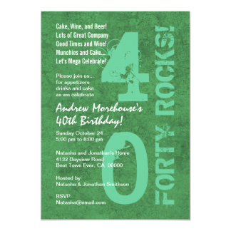 Forty Rocks! 40th Birthday Green White Template 5x7 Paper Invitation Card