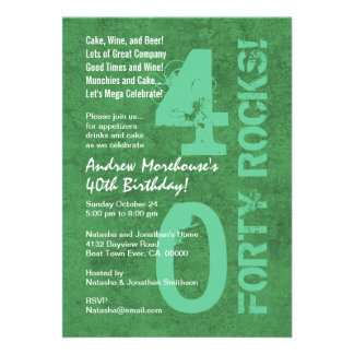 Forty Rocks 40th Birthday Green White Template Announcement