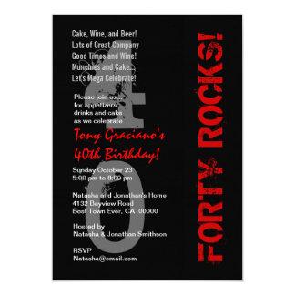 Forty Rocks! Birthday Black White Red Linen Card