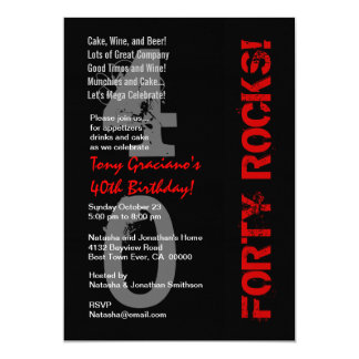 Forty Rocks! Birthday Black White Red Linen Invitation