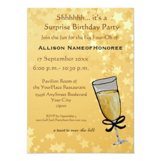 Forty Years Old Birthday Champagne Toast Card