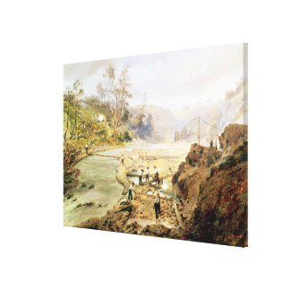 Fortyniners' washing gold from the Calaveres Canvas Print