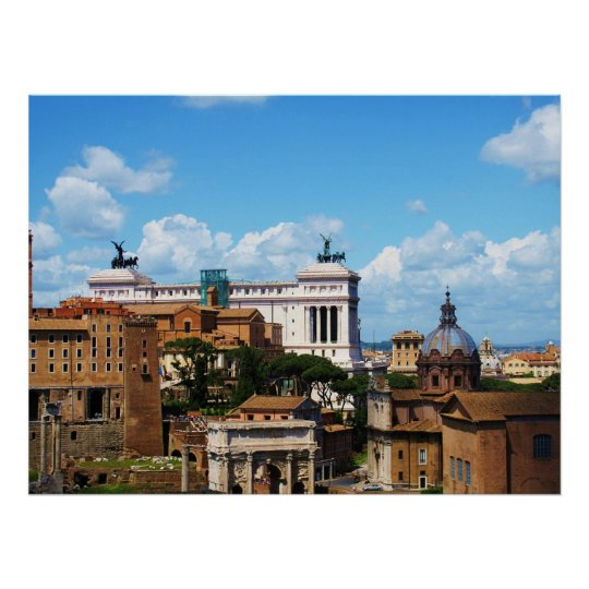 Forum panorama in Rome Poster