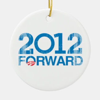 Forward 2012 Vintage.png Double-Sided Ceramic Round Christmas Ornament