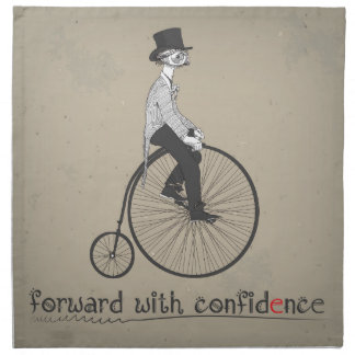 Forward With Confidence Vintage Bicycle Cloth Napkin