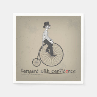 Forward With Confidence Vintage Bicycle Standard Cocktail Napkin