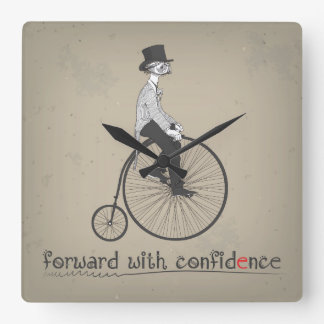 Forward with Confidence Vintage Bicycle Square Wall Clock