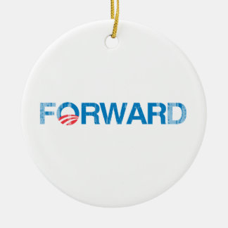 FORWARD-WITH-OBAMA Vintage.png Double-Sided Ceramic Round Christmas Ornament