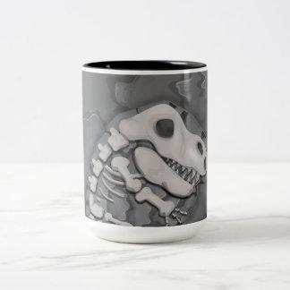 Fósil de dinosaurio taza de dos tonos