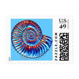 Fósil de la amonita timbres postales