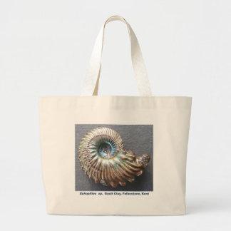 Fósil descascado nacarado hermoso de la amonita bolsas lienzo