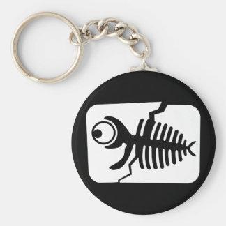 Fósil divertido de los pescados llavero redondo tipo pin