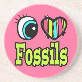 Fósiles brillantes del amor del corazón I del ojo Posavasos Para Bebidas