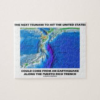 Foso de Puerto Rico del tsunami tierra de la tect Rompecabeza