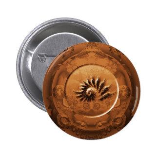 Fossil fractal mirror 2 inch round button