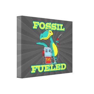 FOSSIL FUELED funny dinosaur cartoon Canvas Prints
