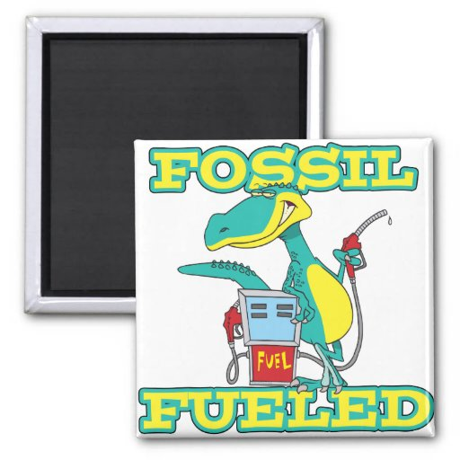 FOSSIL FUELED funny dinosaur cartoon 2 Inch Square Magnet