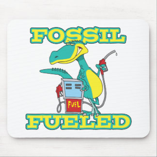 FOSSIL FUELED funny dinosaur cartoon Mouse Pads