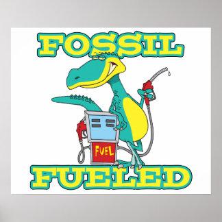 FOSSIL FUELED funny dinosaur cartoon Print