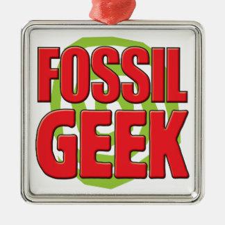 Fossil Geek Square Metal Christmas Ornament