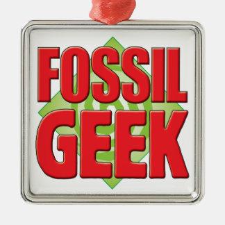 Fossil Geek v2 Square Metal Christmas Ornament