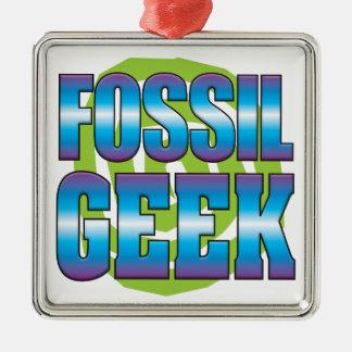 Fossil Geek v3 Square Metal Christmas Ornament