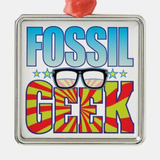 Fossil Geek v4 Square Metal Christmas Ornament