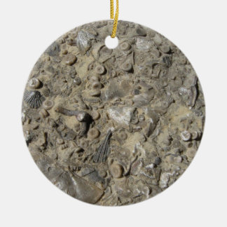 Fossil Hash Print Double-Sided Ceramic Round Christmas Ornament