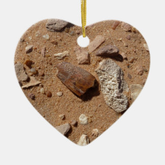 Fossil in the dessert Double-Sided heart ceramic christmas ornament
