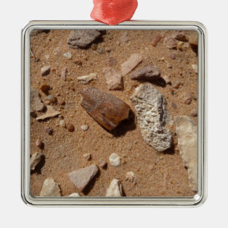 Fossil in the dessert square metal christmas ornament