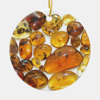 Fossil inclusions in Oligocene Dominican amber Double-Sided Ceramic Round Christmas Ornament