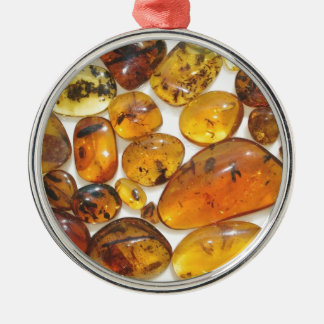 Fossil inclusions in Oligocene Dominican amber Round Metal Christmas Ornament