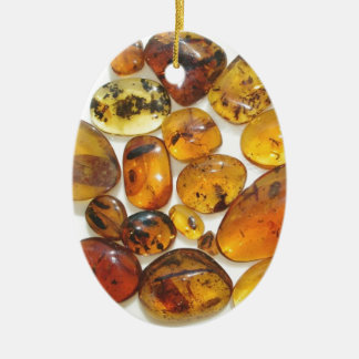 Fossil inclusions in Oligocene Dominican amber Double-Sided Oval Ceramic Christmas Ornament