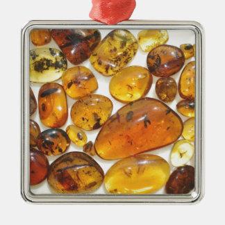 Fossil inclusions in Oligocene Dominican amber Christmas Ornament