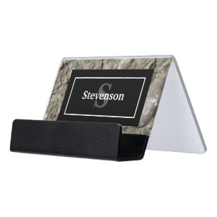 Fossil business card holders cases zazzle fossil limestone rock with name and monogram desk business card holder colourmoves