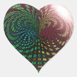 Fossil Wave Sphere Heart Sticker