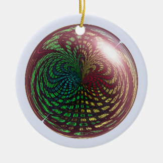 Fossil Wave Sphere Double-Sided Ceramic Round Christmas Ornament